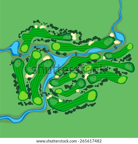 Golf course layout map with flags trees plants river and bridges. Aerial view