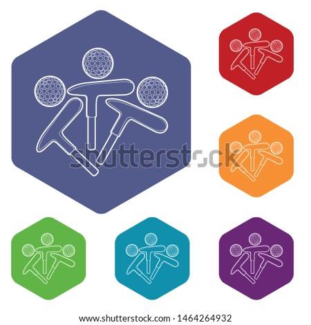 Golf emblem icon. Outline illustration of golf emblem vector icon for web