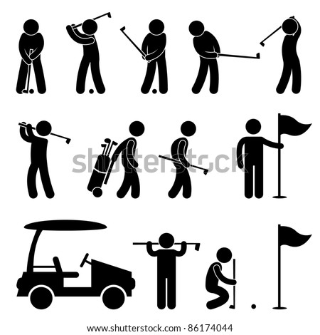Golf Golfer Swing People Caddy Caddie Icon Sign Symbol Pictogram