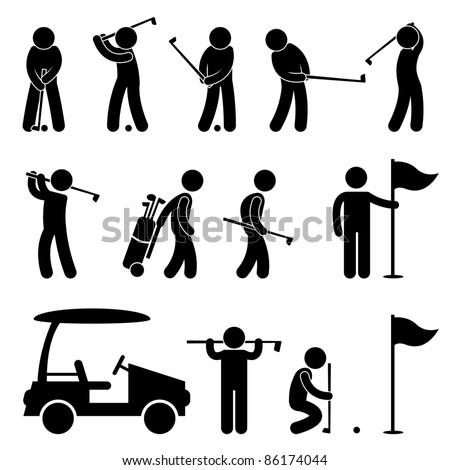 Golf Golfer Swing People Caddy Caddie Icon Sign Symbol Pictogram