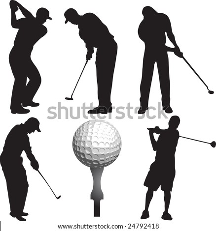 golf, golfer, vector - stock vector