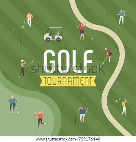 golf ground sports poster concept golfer character  vector illustration flat design