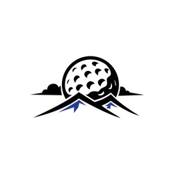 Golf hills or mountain logo vector. With golf ball silhouette & calm cloud illustration. Icon for golfer club & community favorite spot design, sport & hobby activity, focus on professional training