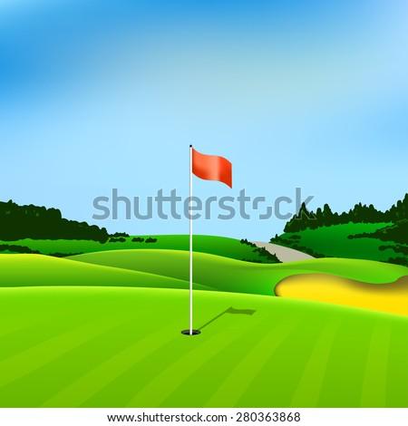 golf hole vector green tee