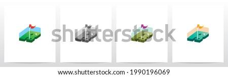 Golf Hole With Flag On Letter Logo Design R Stock fotó ©