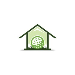 Golf house logo vector. With golf ball silhouette. Stay at home sport & hobby indoor safe activity illustration. Icon for golfer club & community favorite spot design, focus on professional training