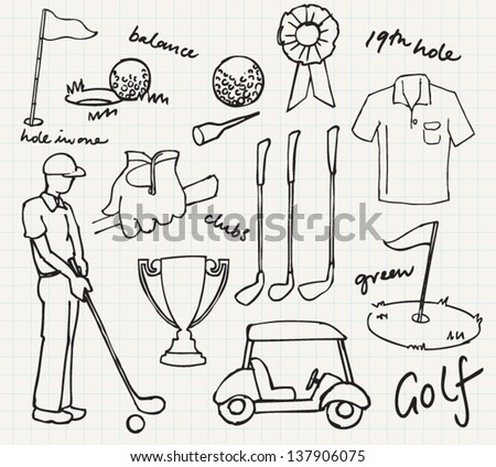 Golf icons collection drawing vector