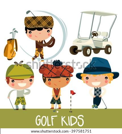 golf kids. cute cartoon golf players. vector character set.