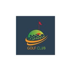 Golf logo illustration flag ball design template vector background