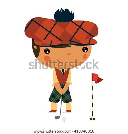 golf player. cute boy playing golf.