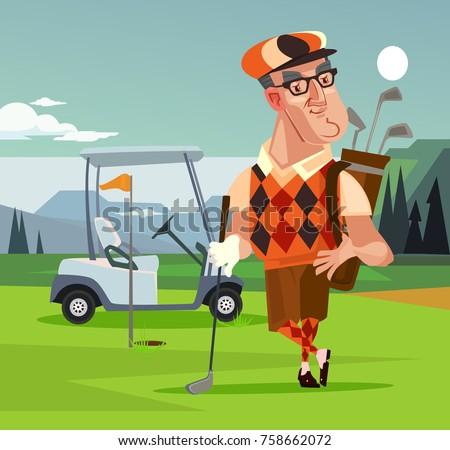 Golf player man character. Vector cartoon illustration