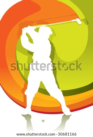 Golf player poster. Vector illustration.