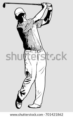 golf player sketch illustration - vector