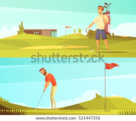 Golf players at course 2 horizontal retro cartoon banners set with red pin flag isolated vector illustration