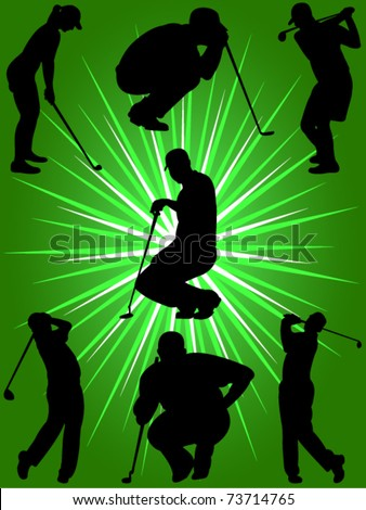 golf players collection vector