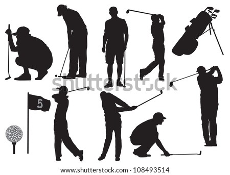 Golf players silhouette