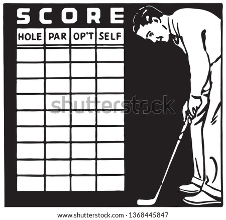 Golf Score Card - Retro Ad Art Banner