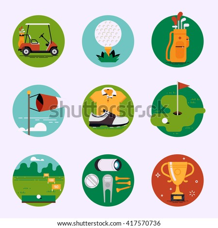 Golf sport club recreation vector web icons set. Golf course resort items, accessories. Golf cart, ball, bag, weather condition, clothes, championship, driving range, tees, divot tool and more