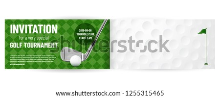 Golf tournament invitation template with sample text in separate layer - vector illustration