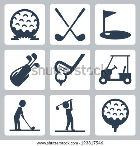Golf vector icons set