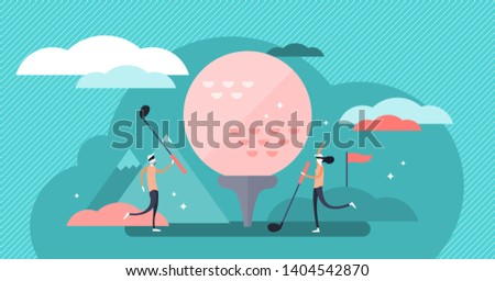 Golf vector illustration. Flat tiny fun lawn ball game hobby person concept. Abstract competition equipment and vintage outdoor activity for recreation and leisure. Athlete team and opponent training.