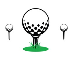 golfball on a Tee graphic, icon, logo, symbol, grass,