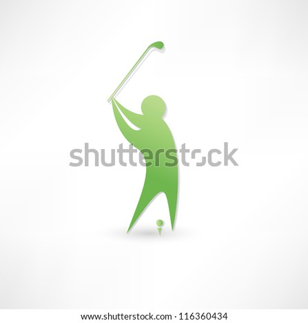 Golfer icon. - stock vector