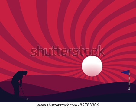 Golfer silhouette at night time with full moon