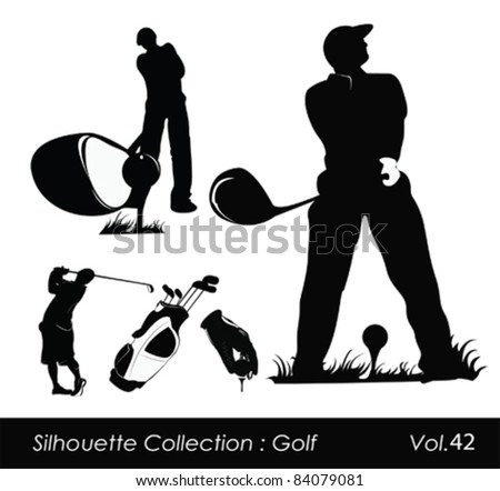 Golfer silhouette.Vector illustration