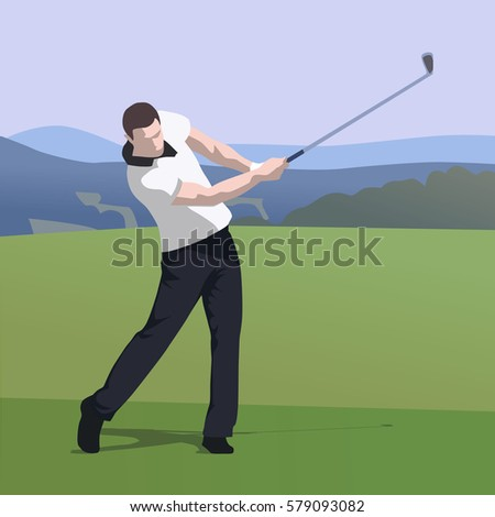 Golfer wearing white shirt and dark trousers hits ball on golf course, abstract vector illustration