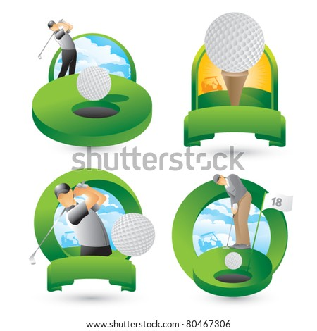 Golfers swinging, putting, and golf ball on tee