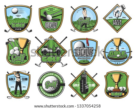 Golfing club sport icons, golf game, golfer, sporting items. Sticks and ball, gold trophy and hole, cart and play course or field, glove and tee. Vector golfing court, sportsmen and equipment isolated