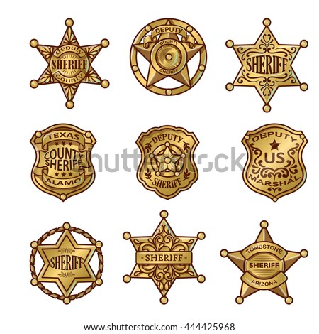 Golgen sheriff badges with stars and shields ribbons flourishes laurel on white background isolated vector illustration