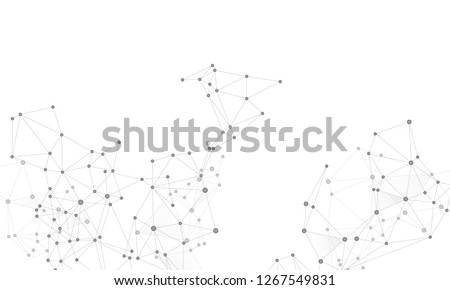 Gometric plexus structure cybernetic concept. Network nodes greyscale plexus background. Chemical formula abstraction. Interlinkes nodes cells random grid. Coordinates structure grid shape vector.