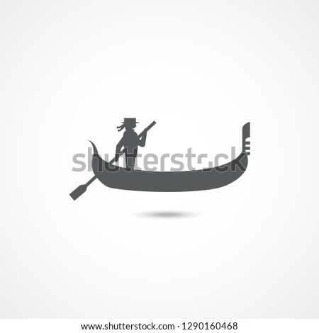 Gondola icon on white background