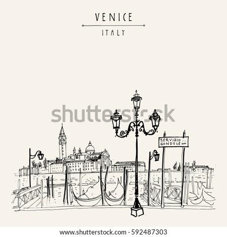 gondola pier in venice  italy