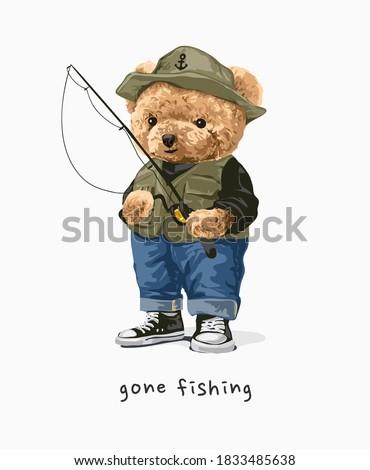 gone fishing bear doll with fishing rod illustration