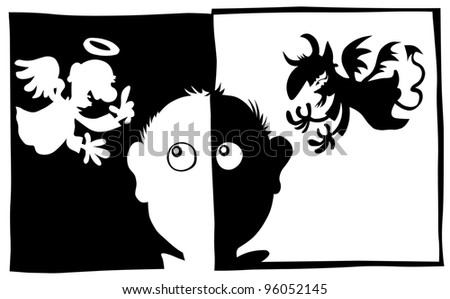 Good and Bad, Angel and Demon characters in silhouette.