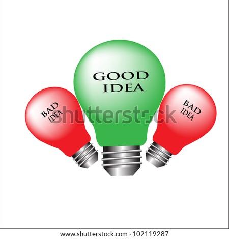 Good and Bad Light Bulb Idea Vector