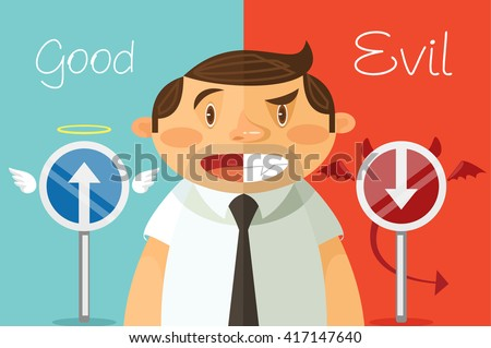 good and evil vector flat