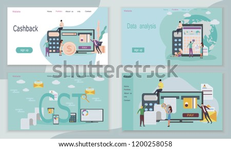 Good and Service Tax (GST) and cashback concept with finanical elements. It's web pages or templates. Credit card, calculator, bills, check are shown. Imagine de stoc ©