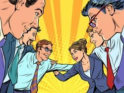 Good business team concept. Pop art retro vector illustration kitsch vintage 50s 60s style