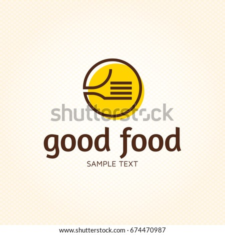 Good Food logo design template. Vector color hand like illustration background. Graphic fork icon symbol for cafe, restaurant, cooking business. Modern linear catering label, emblem, badge in circle