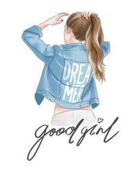 good girl slogan with ponytail girl in jacket illustration