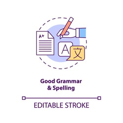 Good grammar and spelling concept icon. Copywriter ability. Professional editor. Virtual assistant skill idea thin line illustration. Vector isolated outline RGB color drawing. Editable stroke
