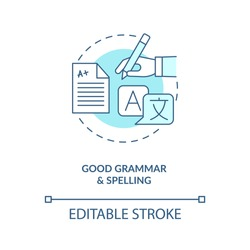 Good grammar and spelling turquoise concept icon. Copywriter, professional editor. Virtual assistant skill idea thin line illustration. Vector isolated outline RGB color drawing. Editable stroke