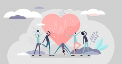 Good health concept, flat tiny persons vector illustration. Active lifestyle with exercise workouts and healthy diet. Abstract heartbeat wellness symbol. Strong immunity and protection from illnesses.