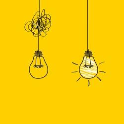Good idea. Banner light bulb idea concept, creative concept light bulb drawn for stock. Flat style. Vector illustration