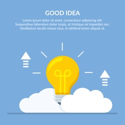 Good idea. Concept vector illustration with a big light bulb on a background of clouds.