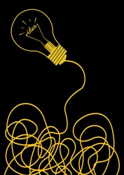 good idea light bulb with cable. concept vector illustration